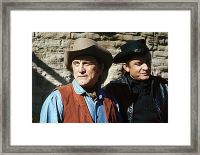 Framed Print featuring the photograph Kirk Douglas Johnny Cash A Gunfight  Old Tucson Arizona 1971 by David Lee Guss