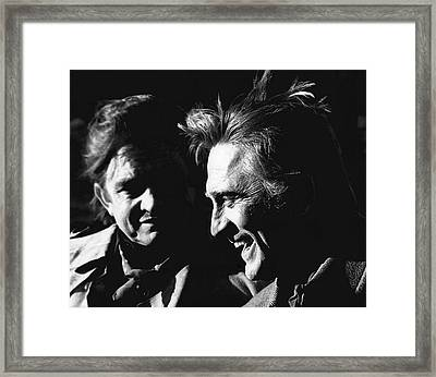 Framed Print featuring the photograph Kirk Douglas Laughing Johnny Cash Old Tucson Arizona 1971 by David Lee Guss