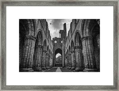 Kirkstall Abbey Bw Framed Print by Pablo Lopez