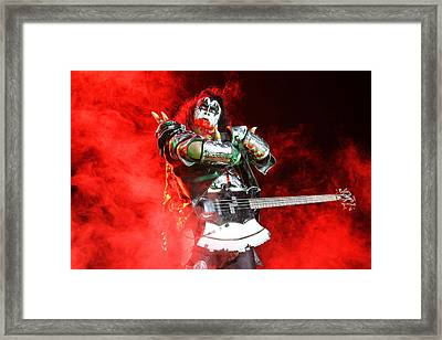 Kiss - 40th Anniversary Tour Live - Bloody Simmons Framed Print by Epic Rights
