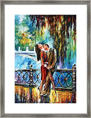 Kiss After The Rain New Framed Print by Leonid Afremov
