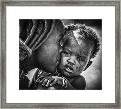 Kiss From Beautiful Himba Mom Framed Print