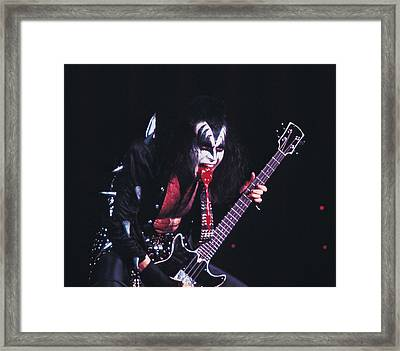 Kiss - Gene Simmons Blood 1973 Framed Print by Epic Rights