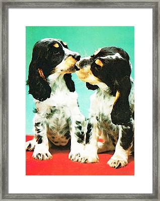 Kiss Me - Cocker Spaniel Art By Sharon Cummings Framed Print by Sharon Cummings