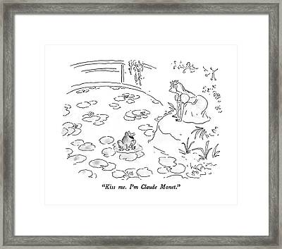 Kiss Me.  I'm Claude Monet Framed Print