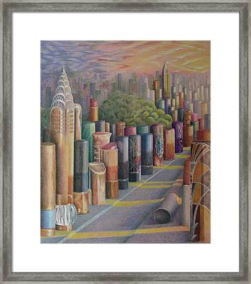 Kiss Of New York Framed Print by Mary Jo Jung
