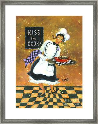 Kiss The Cook Framed Print by Vickie Wade