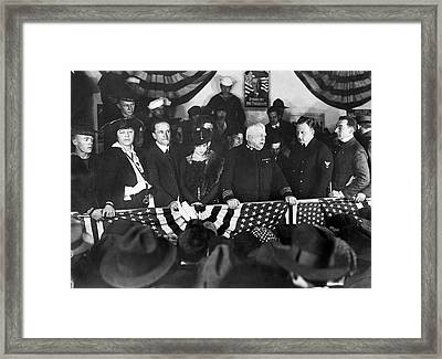 Kisses For War Recruits Framed Print by Underwood Archives