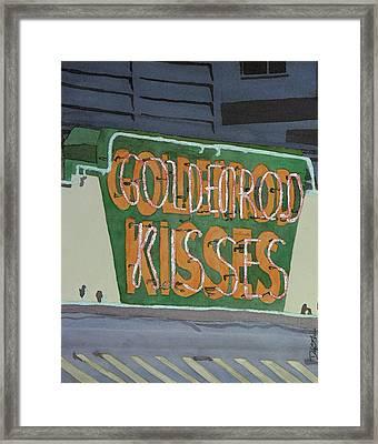 Kisses Neon Sign Framed Print