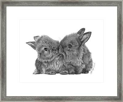 Framed Print featuring the drawing Kissing Bunnies - 035 by Abbey Noelle