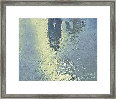 Kissing Couple With Palm Reflection Framed Print by Cindy Lee Longhini