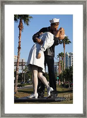 Kissing Sailor - The Kiss - Sarasota Framed Print