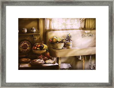 Kitchen - A 1930's Kitchen  Framed Print by Mike Savad