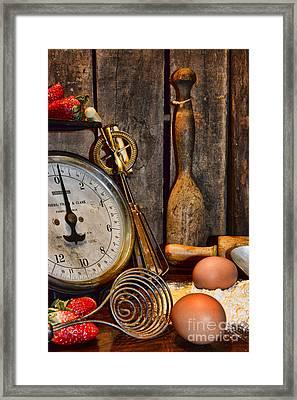 Kitchen - Baking A Strawberry Pie Framed Print