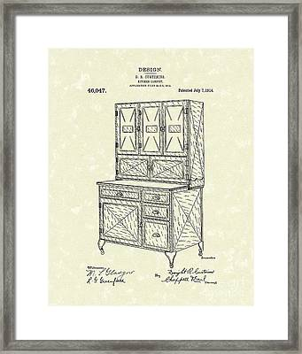 Kitchen Cabinet 1914 Patent Art Framed Print