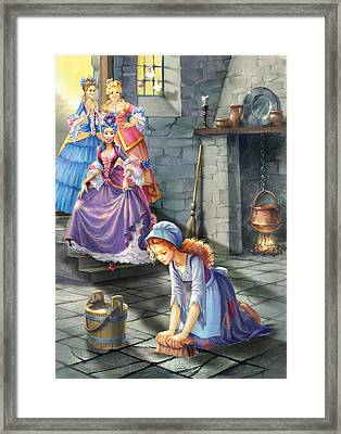 Kitchen Chores Framed Print by Zorina Baldescu