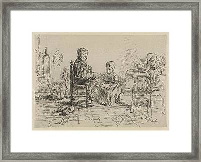 Kitchen Interior With Two Children, Jozef Israls Framed Print by Jozef Isra?ls