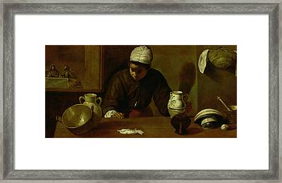 Kitchen Maid With The Supper At Emmaus, C.1618 Oil On Canvas Framed Print