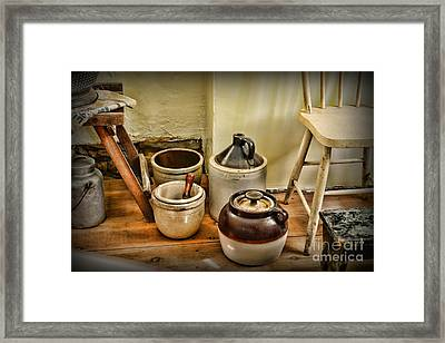 Kitchen Old Stoneware Framed Print by Paul Ward