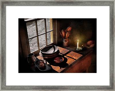Kitchen - On A Table II  Framed Print by Mike Savad