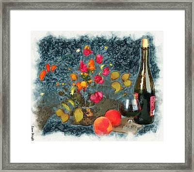 Kitchen - Peaches And Wine Painting  Framed Print