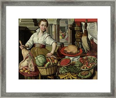 Kitchen Piece, With Jesus In The House Of Martha And Mary Framed Print