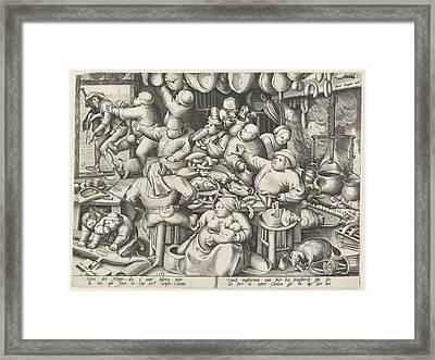 Kitchen, Pieter Van Der Heyden, Hieronymus Cock Framed Print by Pieter Van Der Heyden And Hieronymus Cock