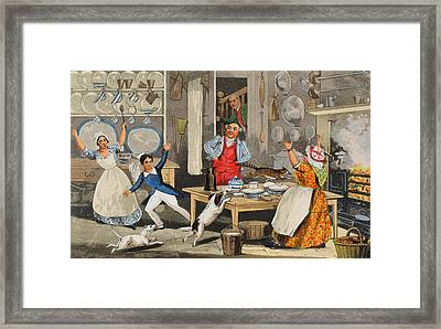 Kitchen Scene Framed Print by Henry Thomas Alken