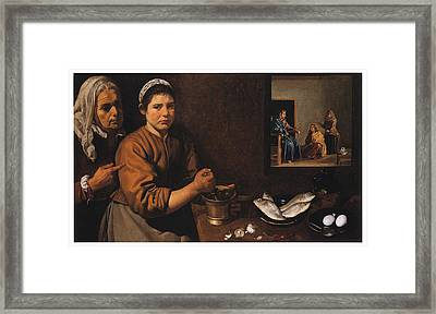 Kitchen Scene With Christ In The House Of Martha And Mary Framed Print