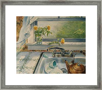 Framed Print featuring the painting Kitchen Sink by Joy Nichols