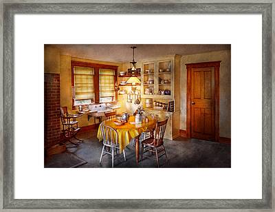 Kitchen - Typical Farm Kitchen  Framed Print by Mike Savad