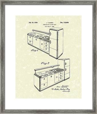 Kitchen Unit 1939 Patent Art Framed Print by Prior Art Design