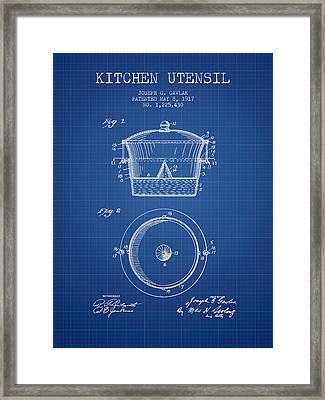 Kitchen Utensil Patent From 1917 - Blueprint Framed Print