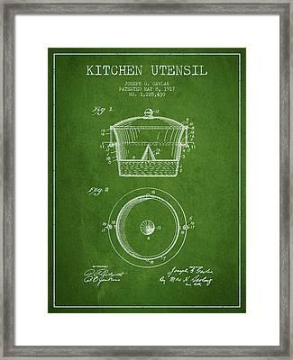 Kitchen Utensil Patent From 1917 - Green Framed Print