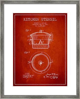 Kitchen Utensil Patent From 1917 - Red Framed Print