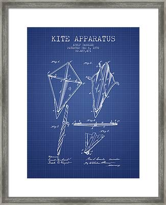 Kite Apparatus Patent From 1892 - Blueprint Framed Print by Aged Pixel