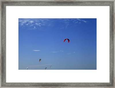 Kite Board Canopies And Blue Sky Framed Print by Noel Elliot