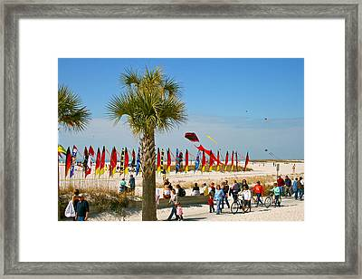 Kite Day At St. Pete Beach Framed Print by Greg Joens