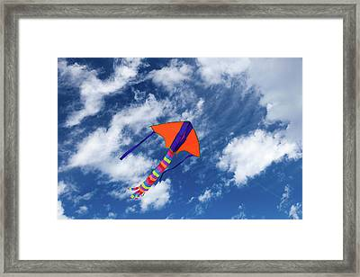 Kite Flying In Sky Framed Print by Wladimir Bulgar