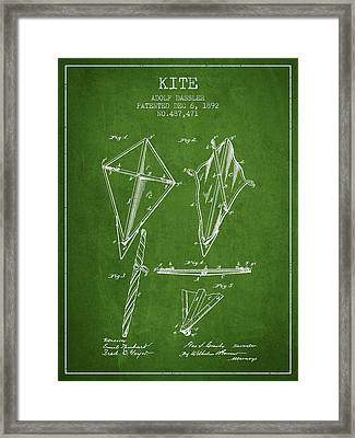 Kite Patent From 1892 - Green Framed Print by Aged Pixel
