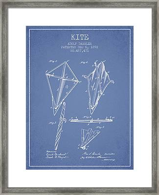 Kite Patent From 1892 - Light Blue Framed Print by Aged Pixel