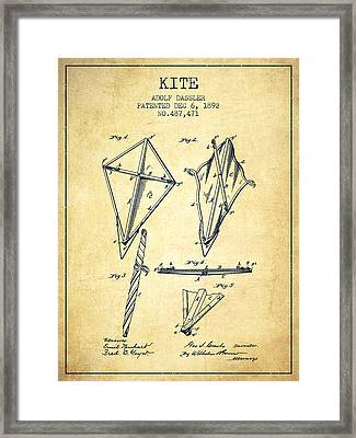 Kite Patent From 1892 - Vintage Framed Print by Aged Pixel