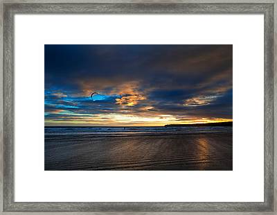 Kite Surfers On Tramore Beach Framed Print by Panoramic Images