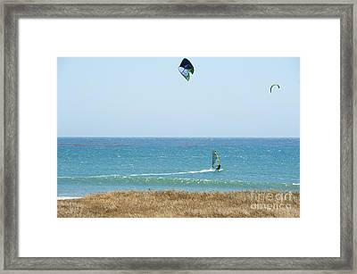 Kite Surfing And Wind Surfing Central Coast San Simeon California Framed Print by Artist and Photographer Laura Wrede