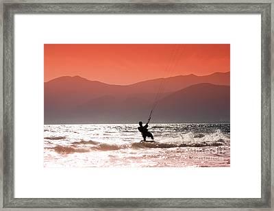 Kite Surfing Framed Print by Gabriela Insuratelu