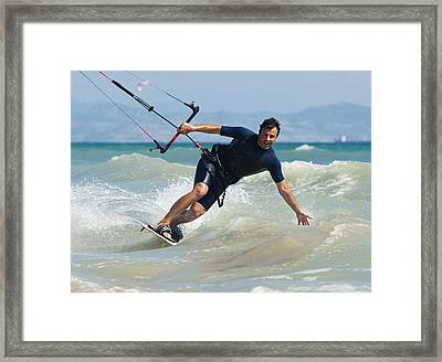 Kite Surfing In Front Of Hotel Dos Framed Print by Ben Welsh