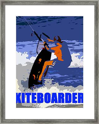 Kiteboarder Blue Smartphone  Framed Print by David Lee Thompson