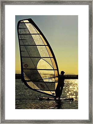 Framed Print featuring the photograph Kiteboarder Sunset by Sonya Lang