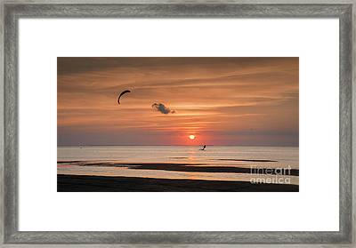 Kiteboarding At Sunset Framed Print by Tammy Smith