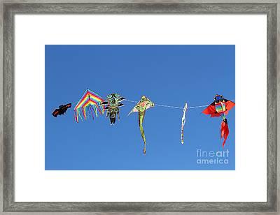 Kites Flying High In The Sky Blue 2 Framed Print
